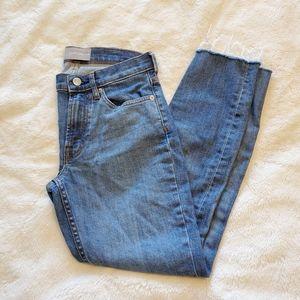 Everlane Mid Rise Medium Wash Skinny Raw Hem Jean